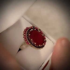 RUBY SAPPHIRE FINE ART RING Size 10 Solid 925/Gold